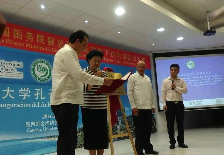 Estuvo presente Liu Yandong, viceprimera ministra del Consejo de Estado de la República Popular China. (Israel Leal/SIPSE)