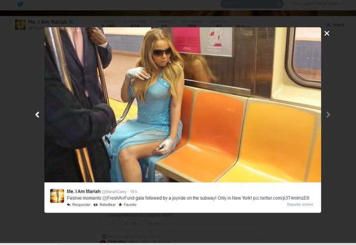 La cantante abordó el Metro de Nueva York. (@MariahCarey)
