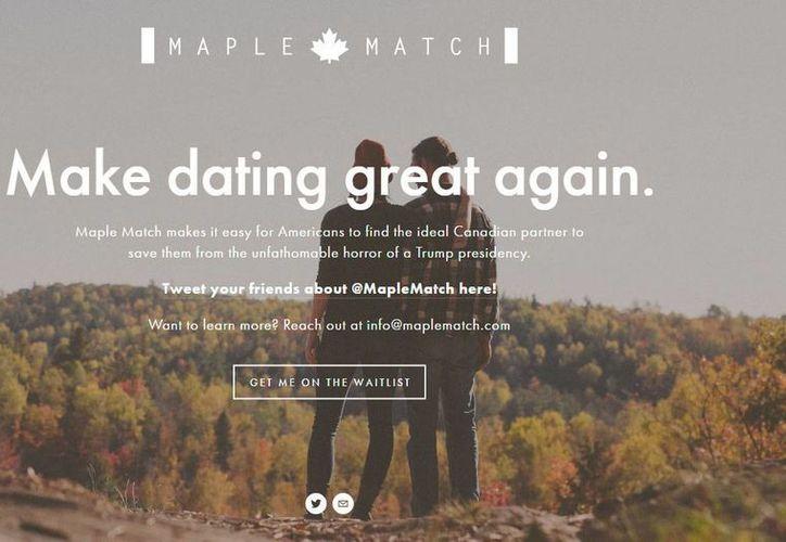 Captura de pantalla del sitio web Maplematch.com, que ofrece encontrar pareja a estadounidenses que no deseen vivir la presidencia de Donald Trump.