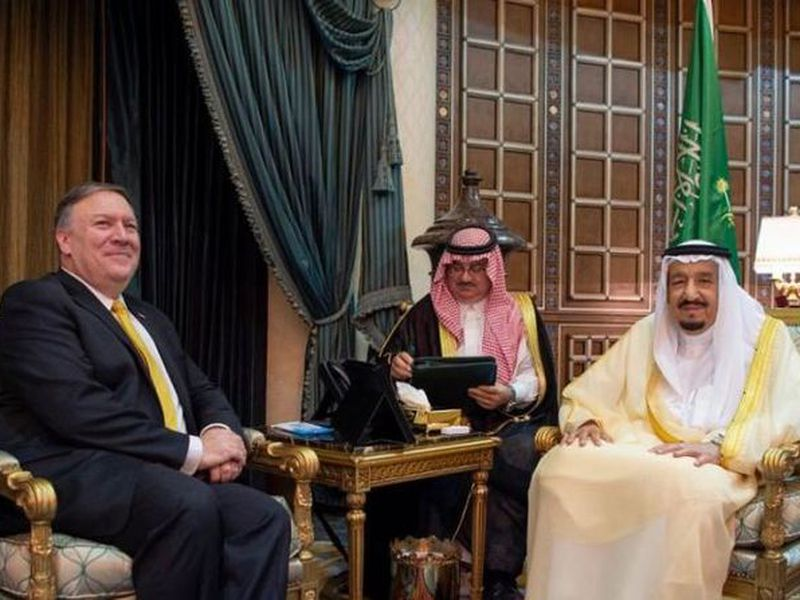 Mike Pompeo, left, is welcomed by Saudi King Salman in Riyadh, Saudi Arabia. (AP)