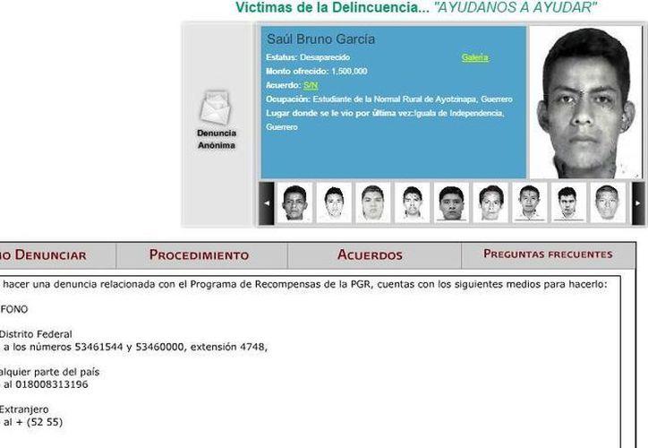El gobierno ofrece recompensas millonarias no solo por los normalistas desaparecidos sino para dar con los responsables de su desaparición. (Captura de pantalla de recompensas.gob.mx)