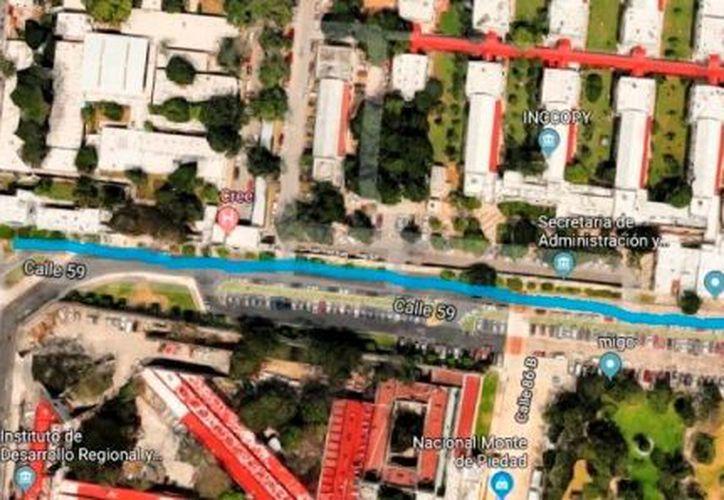 """Pintado en azul, el tramo de la calle 59 que llevaría el nombre de """"Alfonso García Robles"""". (Foto: captura de pantalla)"""