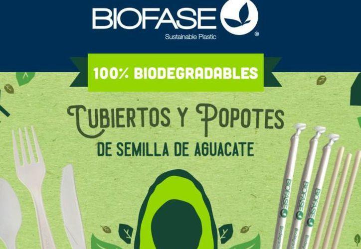 Biofase es una empresa mexicana, creada en Nuevo León, que vende popotes y otros productos hechos de semilla de aguacate, que se degradan en 180 días. (Foto: Internet)