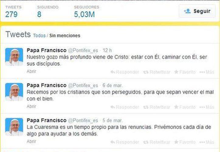 La cuenta @Pontifex -en ocho idiomas, entre los cuales español y latín- cuenta con unos 12 millones de seguidores. (twitter.com/Pontifex_es)