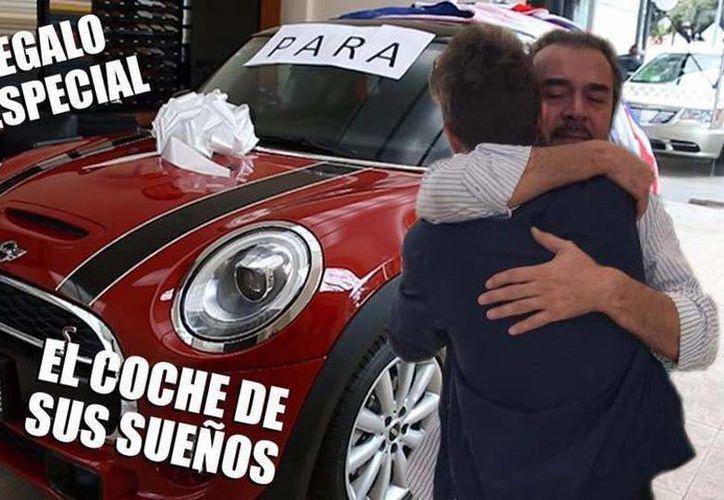 El Youtuber 'Juanpa' Zurita, quien también se desempeña como modelo, hizo publico el video en el que regala auto a su padre. (Foto tomada de Facebook/Juanpa Zurita)