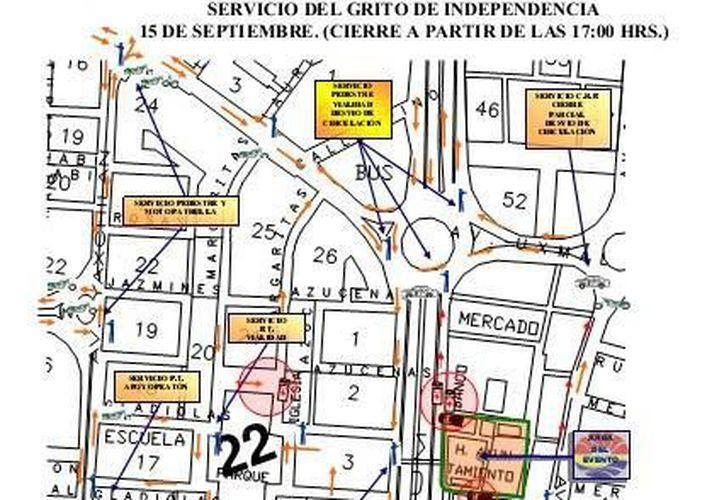 Croquis del cierre de calles para el 15 de septiembre. (Archivo/SIPSE)