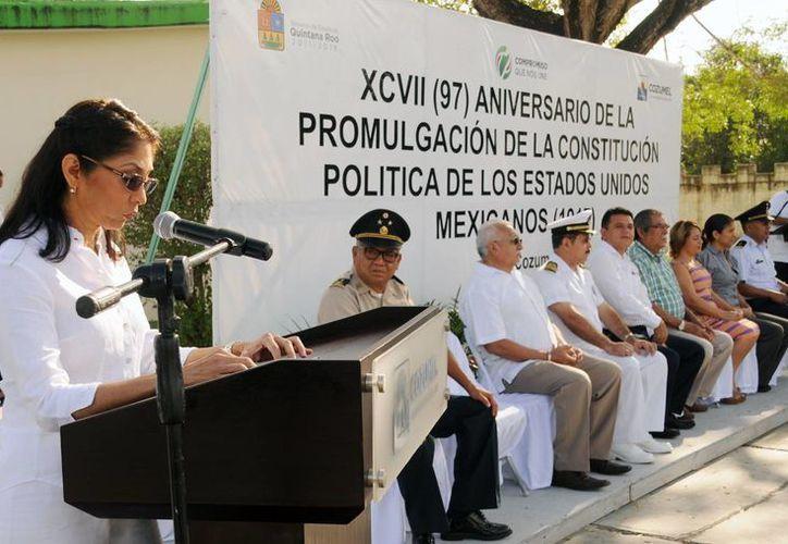 En el discurso oficial se enfatizó que en el documento se establecen los derechos y obligaciones de los ciudadanos. (Cortesía/SIPSE)