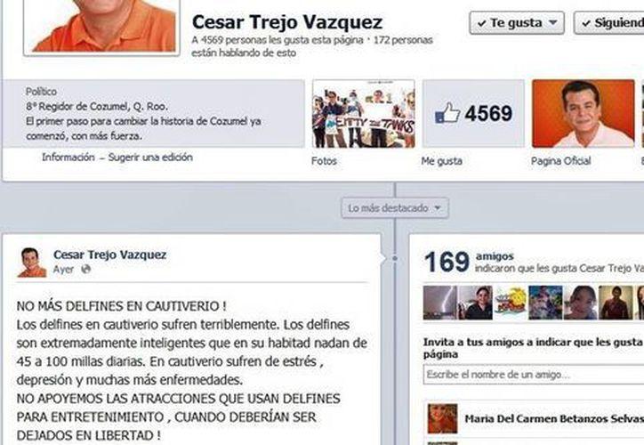 César Trejo Vázquez participó en manifestación en Playa y compartió su imagen en Facebook. (Gustavo Villegas/SIPSE)