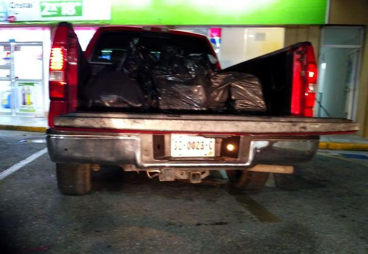 El caracol estaba en bolsas negras sobre una camioneta. (Redacción/SIPSE)