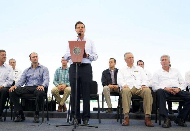 Desde SLP, Peña Nieto reconoció el trabajo de los diputados y senadores sobre las leyes secundarias de la reforma energética. (Presidencia)