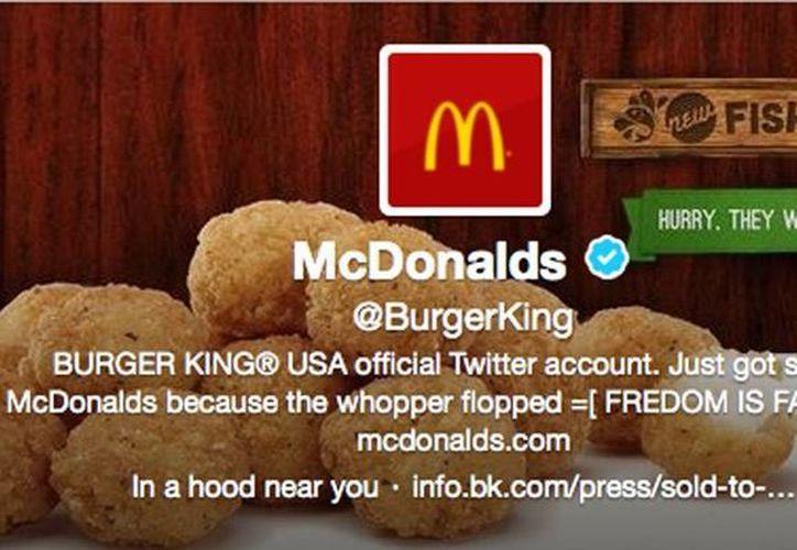 Imagen de la imagen de Twitter de Burger King en la que se dice que fue vendida a McDonald's. (AP)