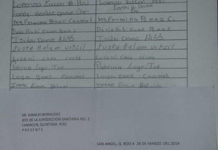 El documento dirigido al jefe de la Jurisdicción Sanitaria con sede en la ciudad de Cancún. (Raúl Balam/SIPSE)