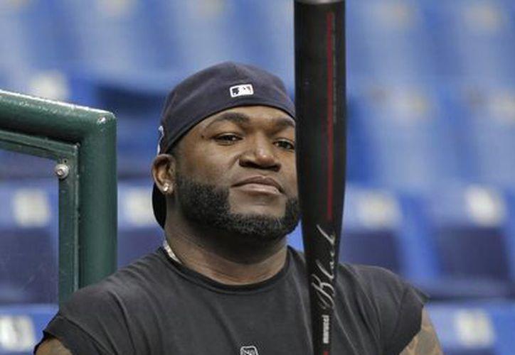 El bateador designado David Ortiz, de los Medias Rojas de Boston, observa su bate durante una práctica este domingo. (Agencias)