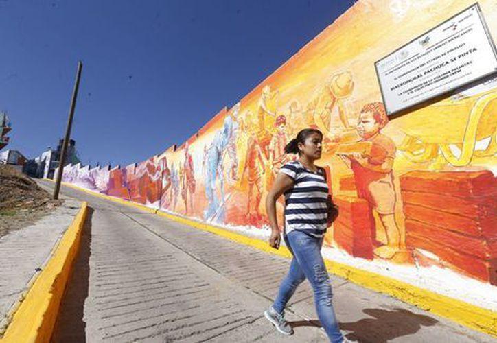 El mural en Pachuca, fue pintado sobre 3 mil 600 casas por 135 artistas. (Foto: Milenio/ Héctor Téllez)