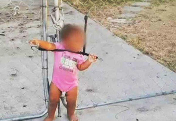 Los gritos y llanto de la pequeña llamarón la atención de un vecino, quien la desató inmediatamente. (Captura de pantalla)