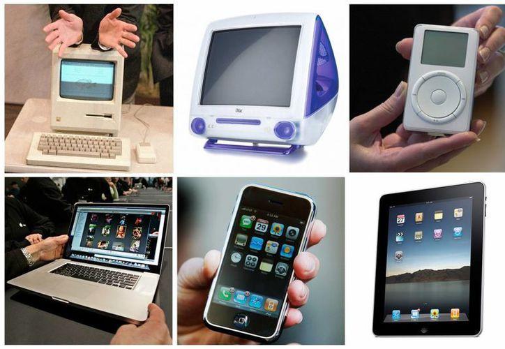 Foto de archivo combinación de seis imágenes muestra una serie de productos de Apple Inc. liberados durante la tenencia de Steve Jobs como CEO de la compañía. (Agencias)
