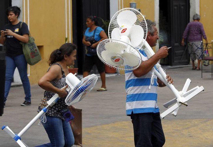 Unos ventiladores para medio paliar el calor que se ha 'encariñado' con Mérida. (Christian Ayala/SIPSE)
