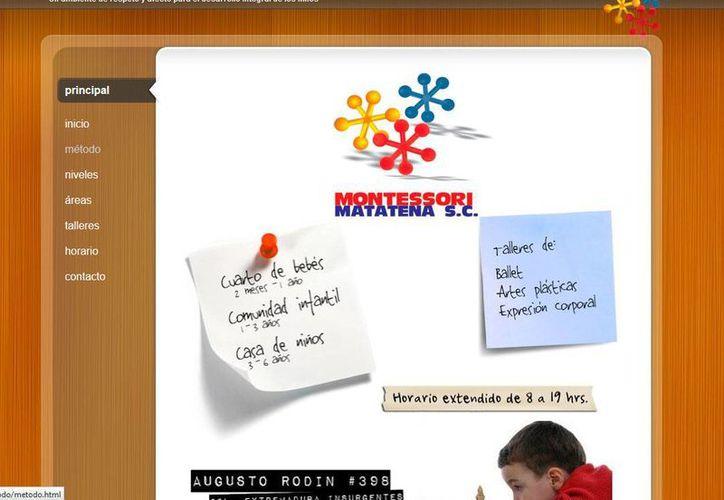 Captura de pantalla del sitio web del colegio Montessori Matatena, que enfrenta denuncias por abuso a menores. (www.montessorimatatena.edu.mx)