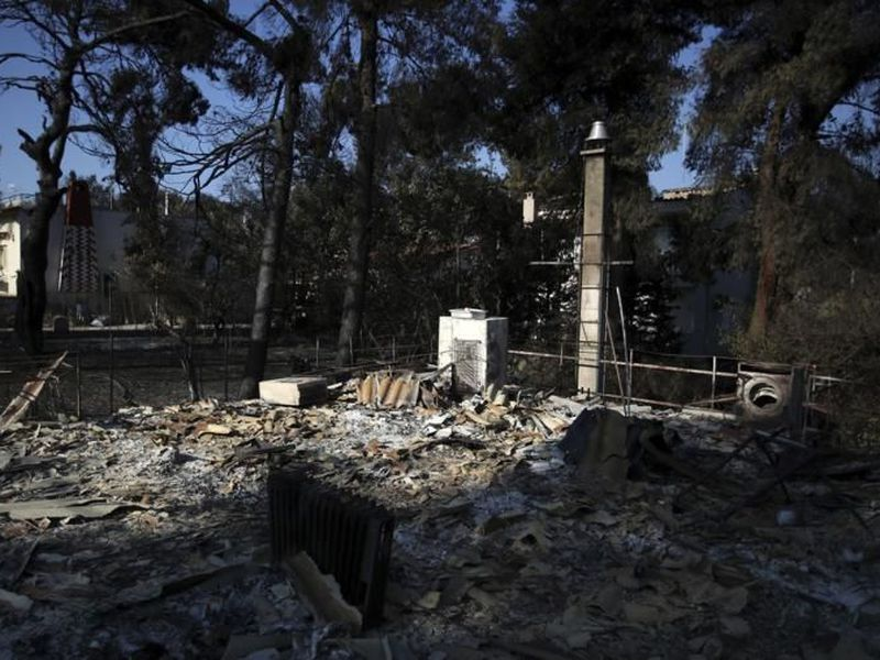 A burnt house in Mati, east of Athens. (AP)