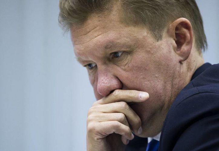 El director general de Gazprom Alexei Mille durante una conferencia de prensa en Moscú, Rusia. (Agencias)