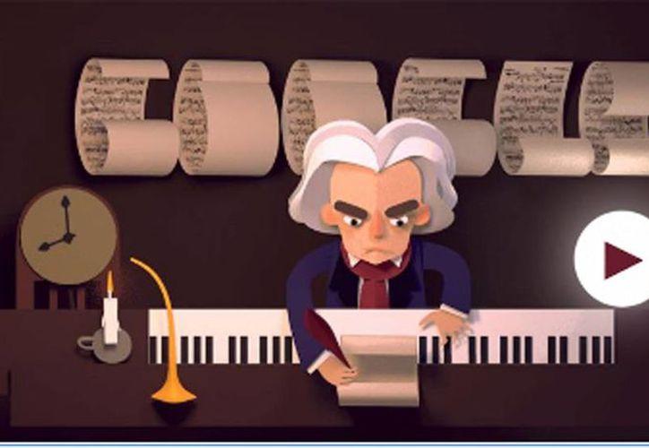 Google recuerda a Ludwig van Beethoven con un 'Doodle' interactivo en el que puedes componer las partituras, que el compositor pierde durante varios juegos interactivos. (Captura de pantalla)