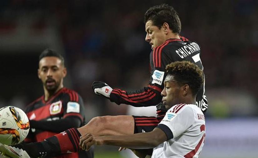 'Chicharito' Hernández (c) se quedó con ganas de anotarle al poderoso Bayern Munich este fin de semana. Ahora espera para jugar los cuartos de final en la Copa de Alemania. (Archivo AP)