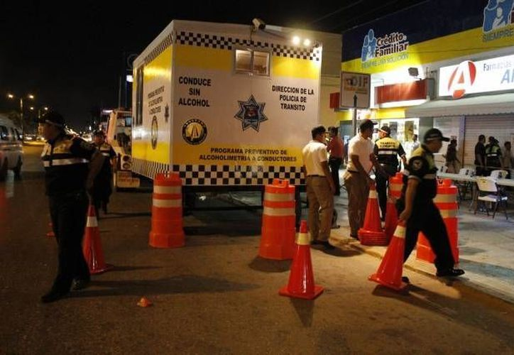 """La Secretaría Municipal de Seguridad Pública y Tránsito continúa con el programa """"Conduce Sin Alcohol"""". (Redacción/SIPSE)"""