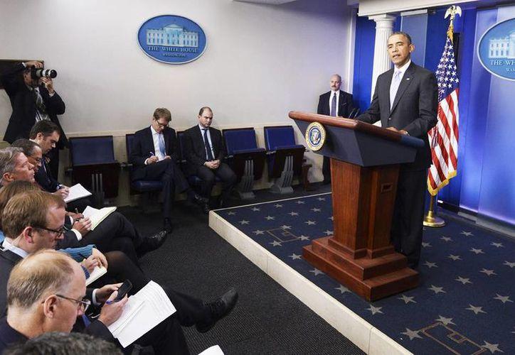 El presidente de EU, Barack Obama, durante una conferencia de prensa convocada de urgencia para abordar la situación de Ucrania. (EFE)