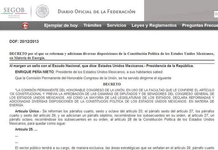 El documento de la reforma energética refiere que los hidrocarburos son propiedad exclusiva de la Nación. Captura de pantalla de la versión web del Diario Oficial de la Federación. (dof.gob.mx)