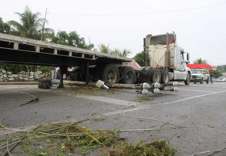 Sobre el pavimento quedaron los cables y ramas, después del choque que protagonizó el trailero Misael Correa Tinal en Temax. (Milenio Novedades)