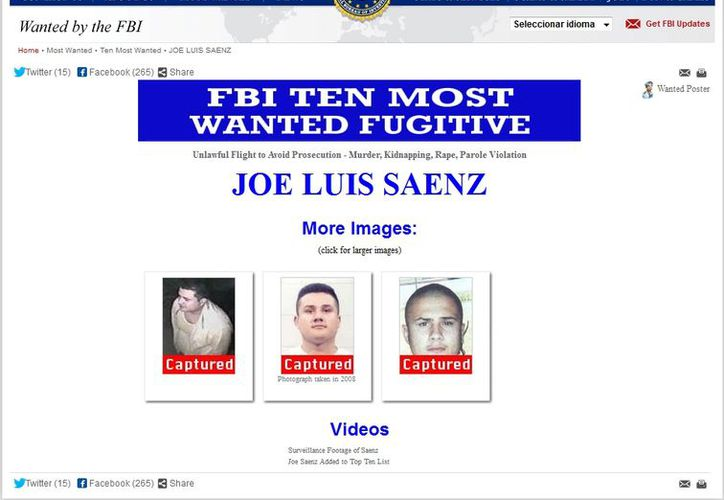 Sáenz será puesto a disposición de la autoridad norteamericana. (fbi.gov)