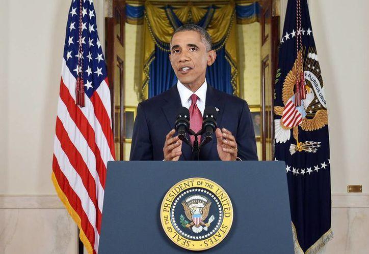 El presidente de Estados Unidos, Barack Obama, emitió su mensaje desde el vestíbulo de la Casa Blanca, la noche del miércoles 10 de septiembre. (Foto: AP/Saul Loeb)