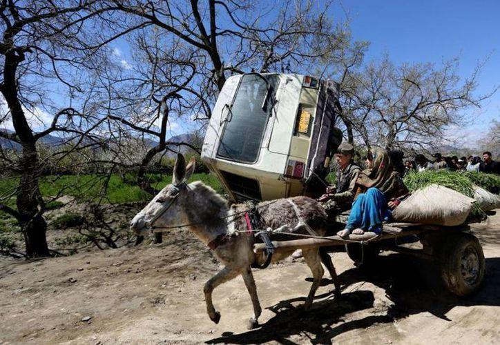 Niños afganos pasan con un burro cerca de donde ocurrió una explosión cerca de Kabul, Afganistán. El atacante viajaba en una motocicleta cuando chocó contra el autobús, detonando los explosivos que llevaba. (AP Photo/Rahmat Gul)