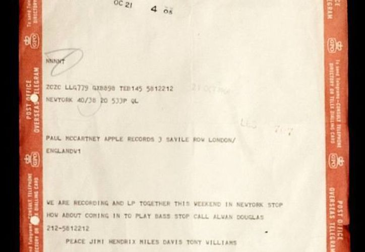 Telegrama enviado por Miles Davis y Jimi Hendrix a Paul McCartney invitando al entonces beatle a participar con ellos en un disco. (Agencias)