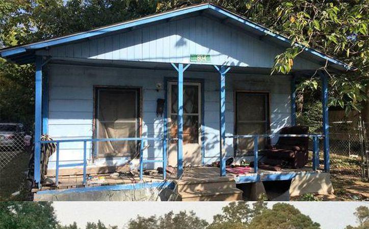 Imagen de una casa del sur (arriba) y una casa del norte de Lake Providence, las cuales muestran la diferencias que entre ambas zonas. (Joan Faus/internacional.elpais.com)