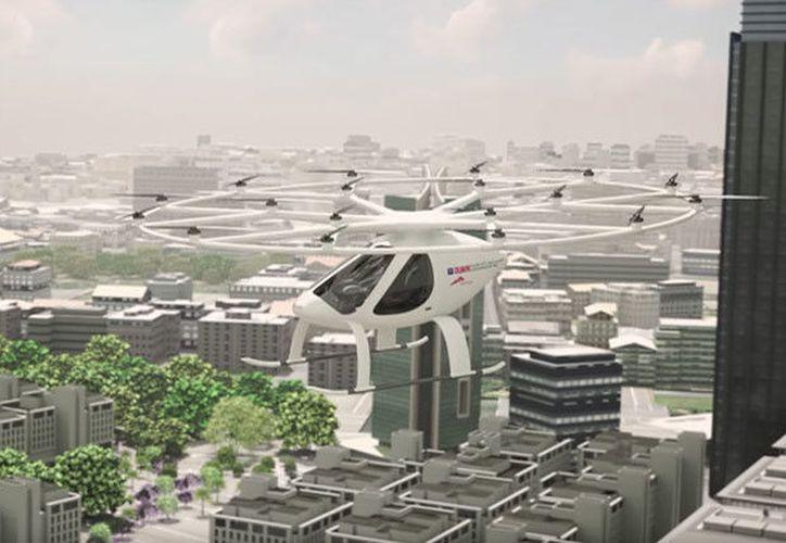 El prototipo del primer taxi aéreo del mundo ha comenzado a realizar vuelos en Dubái. (Captura YouTube).