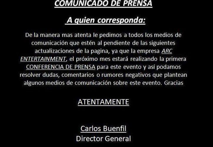 El comunicado que difundió este jueves la empresa ARC Entertainment Mérida. (Cortesía)