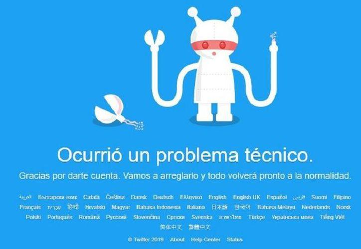 Twitter reportó fallas esta tarde a nivel mundial. (Twitter)