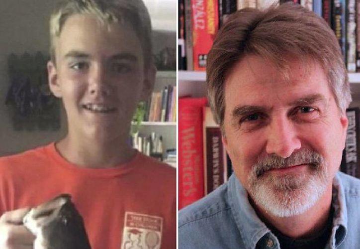 Imagen de Stephen Brumby, de 14 años de edad, y su padre Clayton Brumby, de 64 años de edad, quien le disparó accidentalmente a su hijo provocándole la muerte. (twitter.com/huisgenoot)