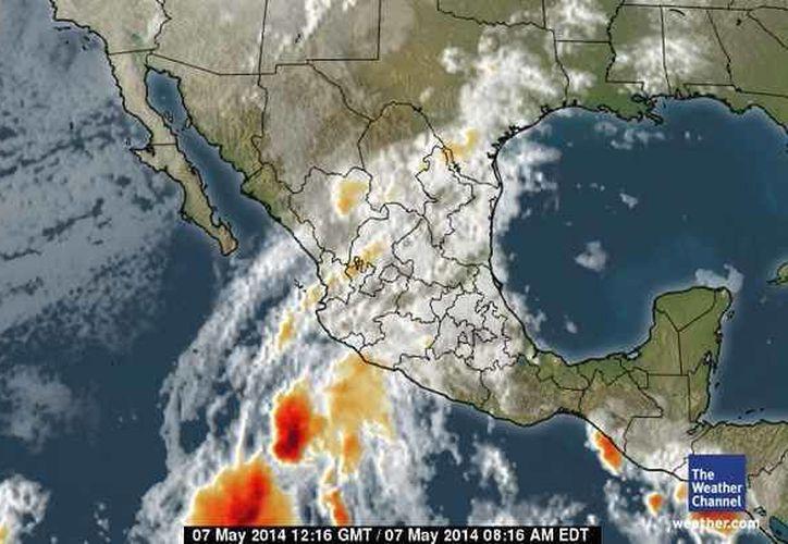 El canal de baja presión extendido sobre la sonda de Campeche y el sureste mexicano, provocará potencial de lluvias. (Foto/espanol.weather.com)
