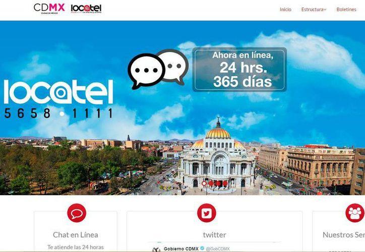 Captura de pantalla del sitio web del Servicio Público de Localización Telefónica, que cumple 37 años este 3 de septiembre de 2016. (www.locatel.cdmx.gob.mx)
