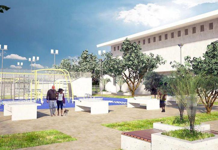 La Unidad Deportiva Francisco de Montejo contará con instalaciones para tenis de mesa, una cancha de padel y gimnasio de basquetbol, entre otros. Imagen del render presentado de la obra. (Milenio Novedades)