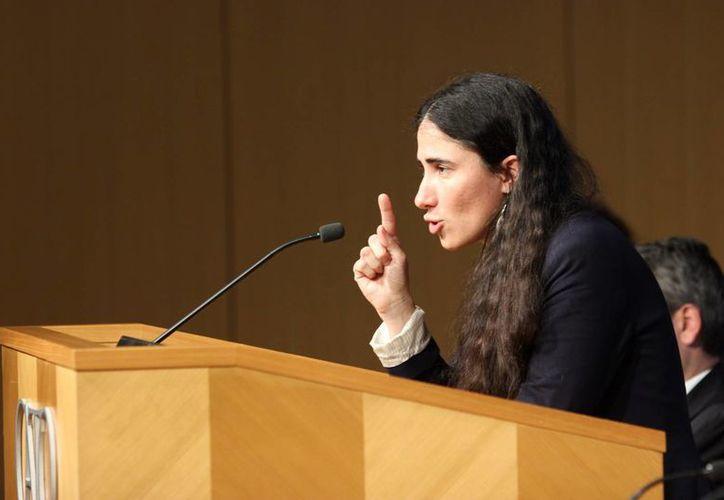 La bloguera cubana Yoani Sánchez habla en el  Instituto Cato, en Washington, DC. (EFE)