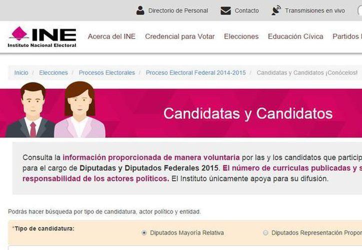 El Instituto Nacional Electoral puso a disposición de los electores información de los candidatos a diputados de todos los distritos y circunscripciones. (Captura de pantalla)
