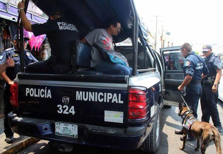 Durante la madrugada de fin de año, ocho personas fueron detenidas por elementos de Seguridad Pública. (Foto: SIPSE)
