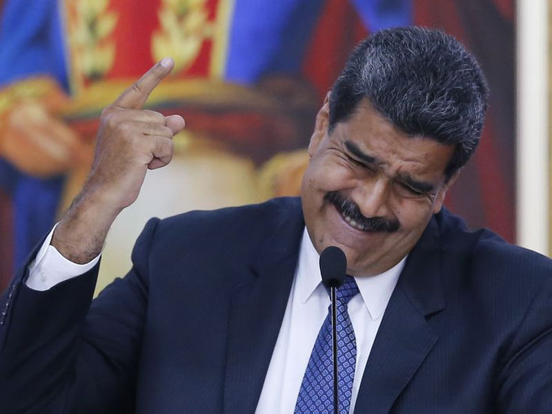 Nicolas Maduro speaks during a meeting with international observers invited by Venezuela's electoral authority.