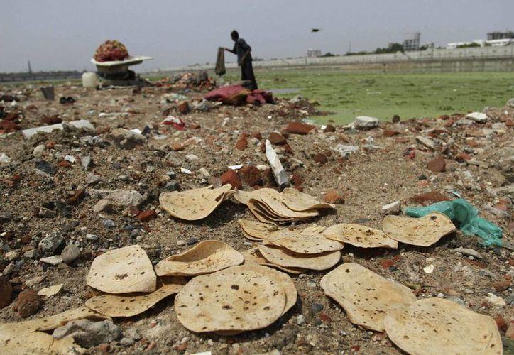 Imagen del 5 de junio de 2013 muestra pan indio desechado a lo largo de la orilla del Río Sabarmati en Ahmadabad, India. (Agencias)