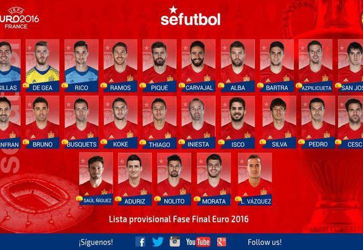 Esta es la lista provisional de 25 jugadores españoles para la Eurocopa 2016 en Francia. (Facebook)