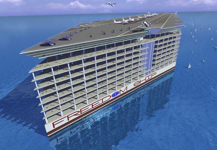 Interpretación computarizada de lo que sería el Freedom Ship of the Seas. (EFE)