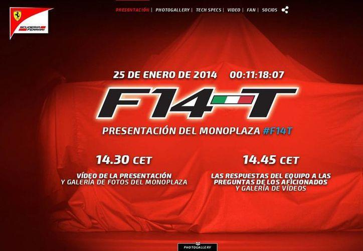 Ferrari preparó una web especial para presentar al monoplaza bautizado como F14-T, el cual será revelado a las 14:30 horas de este sábado. (f14t.ferrari.com)